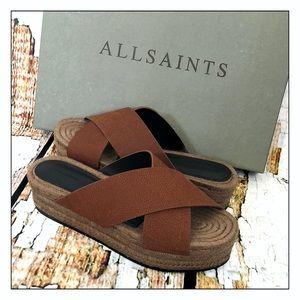 NEW All Saints Brown Harlem Platform Sandals